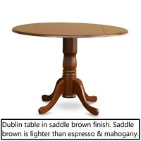 """42"""" Round Dublin drop-leaf pedestal kitchen table without chair saddle brown NEW"""