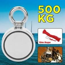 AU 500KG Double Side Neodymium Metal Magnet Detector Fishing Hunter Kit 10M Rope