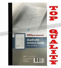 Office Depot pre-printed 210 x 130mm invoice book with VAT column 100 sheet sets