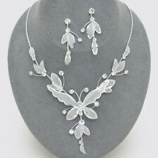 Bridal Wedding Prom Silvery White Butterfly Diamante Necklace Earring Bling 0463