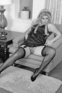 Semi Nude B/W Photo- Blond On Sofa- Heels- Panties- Legs- Stockings- Up Skirt