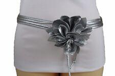 Women Silver Faux Leather Fabric Tie Fashion Skinny Belt Flower Buckle XS S M