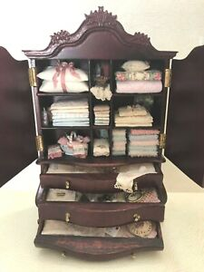 DOLLHOUSE MINIATURE  BESPAQ BABY HUTCH FILLED BY  JOY BROWN 1999