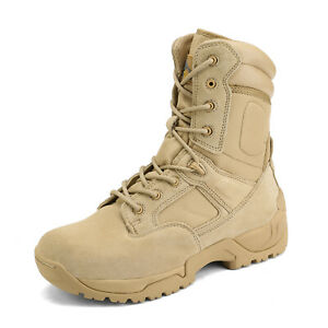 Mens Military Tactical Desert Work Boots Side Zip Hiking Motorcycle Combat Boots