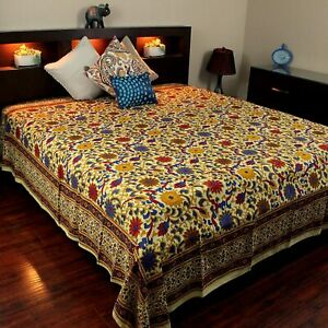 """India Arts Bedspread Cotton Sunflower Print, Yellow, Approx. 106"""" x 106"""" Queen"""