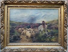 Antique 19C Shepherd on a Horse with a Dog, Rams and Cows Oil Painting on Canvas