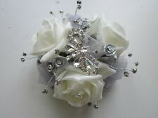 Ivory & Silver Butterfly Rose Wrist Corsage Prom Wedding Flowers Bride Mother