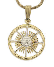 "Sun Pendant with Necklace Argentina Coin Pendant 7/8"" diameter, ( # 593B )"