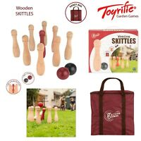 Toyrific Wooden Skittles 9 Pin Bowling Set Outdoor Summer Garden Family Fun Game