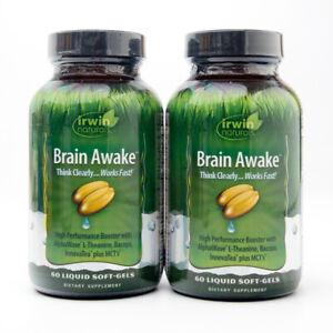 2 Irwin Naturals Brain Awake 2x60 Liquid Soft-Gels EXP 8/21 & 1/22