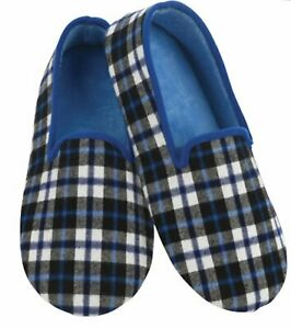 Blue plaid men's snoozie slippers