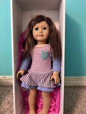 "American Girl Doll Brown Hair Blue Eyes with Freckles 18"" with accessories"