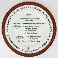 1980 Plaza Of The Americas Hotel Plate ~ Coalport Red Wheat Bone China England