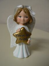 Hallmark Ornament YOU'RE AN ANGEL Gold Star White Glitter Wings