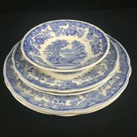 VTG Set of 4 Plates and 1 Bowl by Spode Copeland Severn Blue Floral England