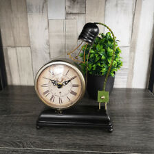 Retro Vintage Bulb Mantle Clock Metal Novelty Analogue Roman Numerals Timepiece