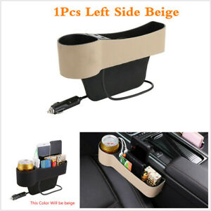 Dual USB Car Seat Crevice Storage Box Cup Holder Organizer Autos Gap Caddy Beige