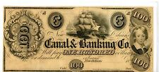 LOUISIANA, NEW ORLEANS - $100 CANAL AND BANKING CO.- 1800's OBSOLETE