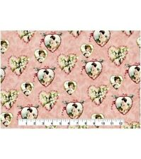 VALENTINE HEARTS VINTAGE LOOK PRINT 100% COTTON FABRIC  BY THE 1/2 YARD