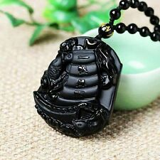 100% Black Natural A obsidian hand-carved sailing pendant necklace