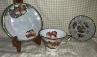 Vintage Iridescent Fruit Cup & Saucer, Japan W/bonus Little Dish plate