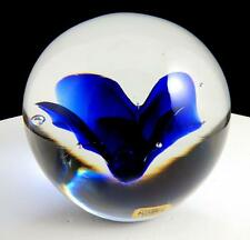 "KOSTA WARFF SIGNED COBALT BLUE FLOWER 2 1/2"" ROUND PAPERWEIGHT ORIGINAL STICKER"