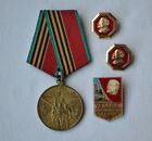Medal 40 years Victory WWII Participant Labor Front Set 4x USSR Lenin pins lot