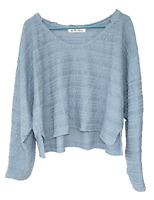 Free People Size L Blue Woven Knit Textured Cropped V Neck Long Sleeve Top