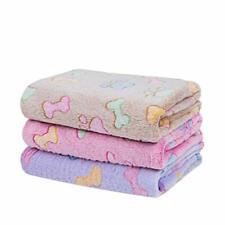 1 Pack 3 Blankets Soft Fluffy Cute Bone Pattern Fleece Pet Blanket Warm Sleep M