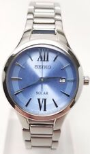 Seiko Solar Ladies Blue Dial Stainless Steel Bracelet Dress Watch SUT209