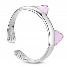 Solid 925 Sterling Silver Pink Cats Ears Ajustable Stacking Ring
