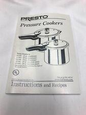 Presto 72856 01241 01341 Pressure Cooker Instructions & Recipe Book Genuine