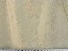 Drapery Upholstery Fabric Faux Silk Taffeta Flocked Velvet Damask - Ivory