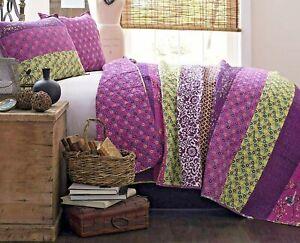 Designer Luxury Misha Quilt Patchwork Bohemian Reversble Print Pattern 3 Pc PLUM