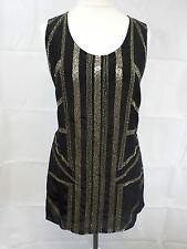Elegance Paris Silk Embellished Sleeveless Top Black Ladies Size 10 Box31 53 H