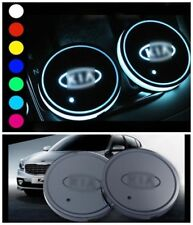 2PCS For KIA Car Auto Atmosphere Lights Colorful LED Car Cup Holder Pad Mats