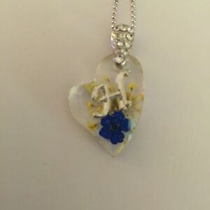 HEART  SHAPED PENDANT WITH REAL FLOWERS AND YOUR NAME INITIAL H