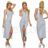 Sexy Striped Summer Maxi Dress Side Front Split Stripes Size 6 8 10 12 XS S M L