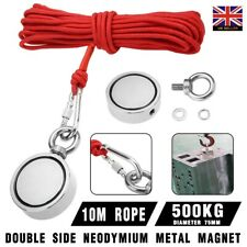500KG Sea Fishing Kit Double Sided Round Neodymium Magnet Detector+ 10M Rope