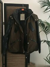 Zara Coat Jacket Parka Hooded Leather Sleeves Good Condition Size XS 6 8 RRP £70