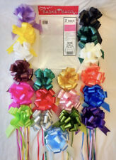 2 x Large Cellophane Hamper Gift Basket Bags & 2 x 50mm Pull Bow- choose colour