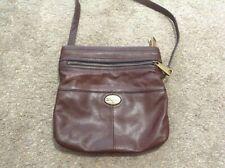 FOSSIL Long Live Vintage Brown Leather PURSE Bag crossbody Satchel euc fold over