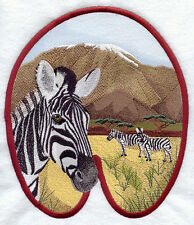 Large Embroidered Zippered Tote - Zebra Track M1613