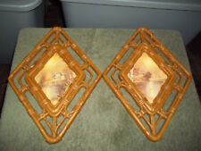 Set Vtg Homco Cottage/Water Scene Diamond Shaped Wall Plaques - 3253