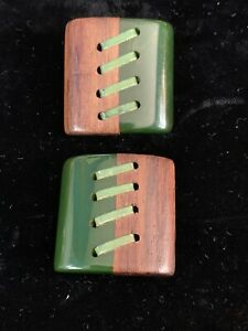 2 Large Deco Green Bakelite And Wood Laced Buttons