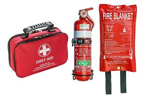 First Aid Kit, 1kg Dry ChemFire extinguisher and Fire Blanket 1m X 1m