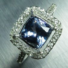 1.65ct Natural blue Tanzanite Asscher & topaz Sterling 925 Silver ring