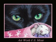 Black Cat Mouse Mice Sleeping Teddy Bear Cute ACEO Limited Edition Art Print