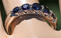 .75Ct Round Cut Blue Sapphire Diamond Engagement Band Ring 14k White Gold Finish