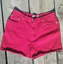 Tommy Hilfiger High Waisted Vintage Shorts Flag Logo HOT Red Denim Shorts Sz 14